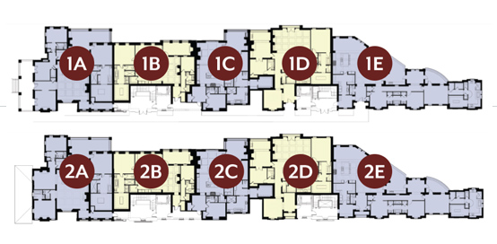 A diagram of the floorplans of the Arlington on West Main in downtown Franklin, TN